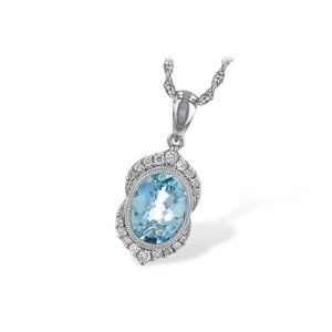 White Gold 14K Aquamarine With Oval &Round Cut 8.3